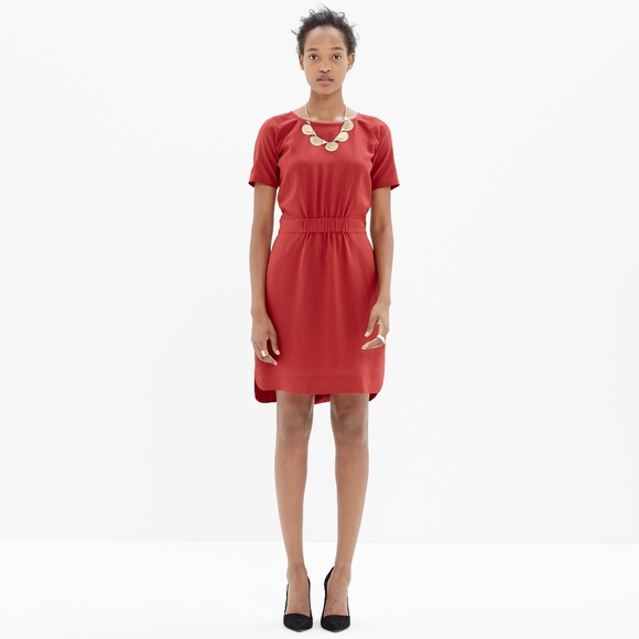 Madewell Dresses & Skirts - Madewell Red Silk Cinch-Waist Dress Size 2